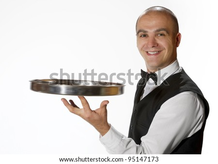 Waiter with empty tray - stock photo