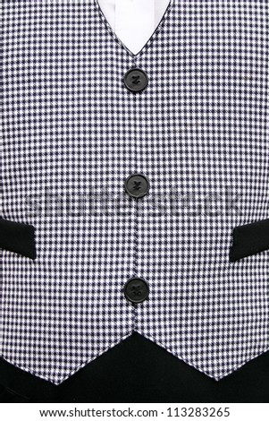 Waiters old fashioned black and white checkered vest.