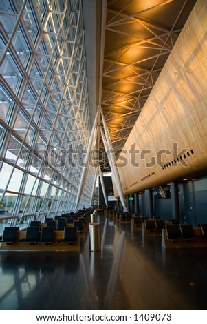 Waiting area in the Zurich airport - stock photo