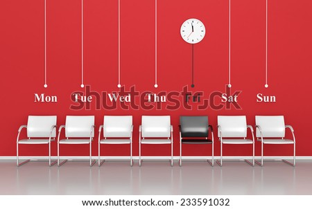 Waiting for black friday in the waiting room - stock photo