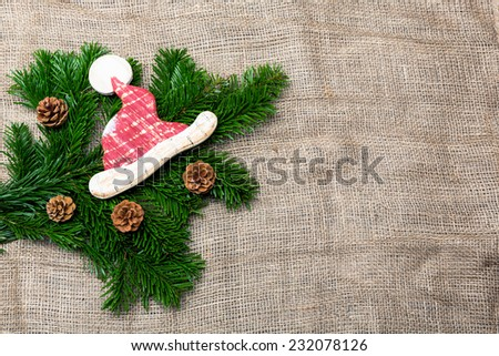 waiting for christmas - christmas background with jute - stock photo