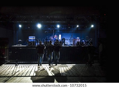 waiting for rock concert - stock photo