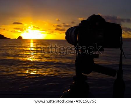 Waiting for sunset - stock photo