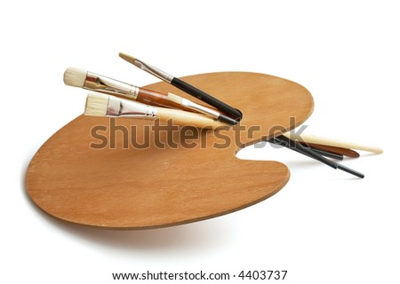 waiting for the artist, unused painting brushes and palette - stock photo