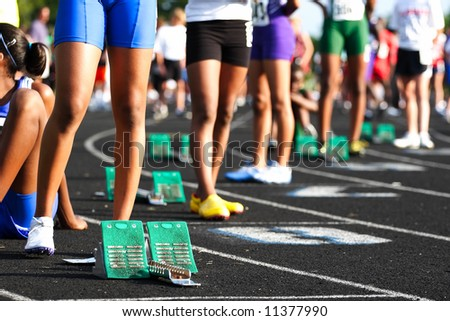 Waiting for the start of the heat (shallow depth of field) - stock photo