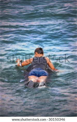 Waiting for the wave - stock photo