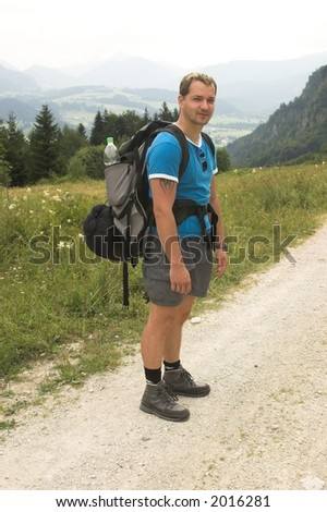 waiting hiker - stock photo