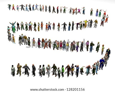Waiting line from above, Queued from birds eye view - stock photo