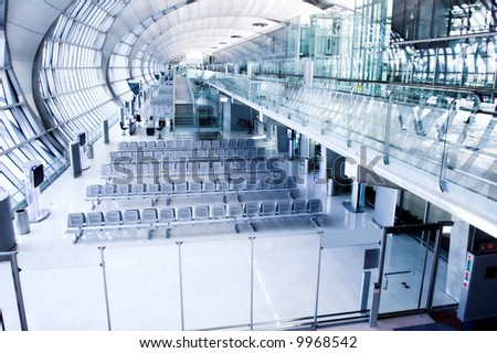waiting room gate,  place in airport, perspective view - stock photo