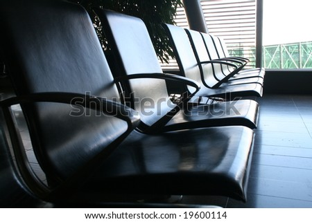 waiting room in an airport - stock photo