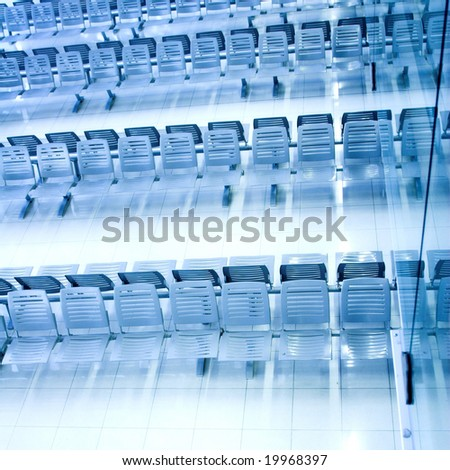 waiting room,  place in airport, perspective view - stock photo