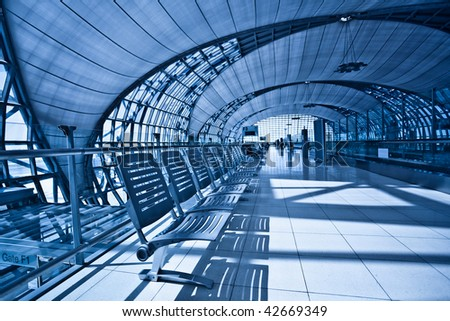 Waiting room with chairs, place in airport corridor - stock photo