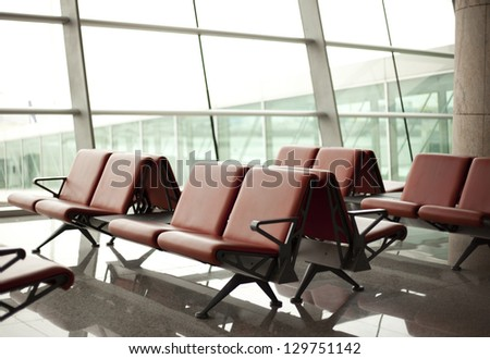 waiting room with seats in airport - stock photo