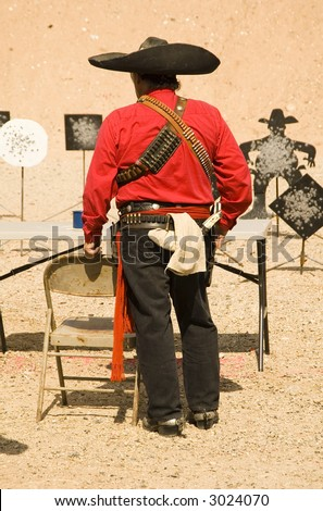 waiting to participate in the cowboy action shooting competition in Casa Grande Arizona - stock photo