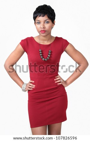 Waiting woman with hands on waist - stock photo
