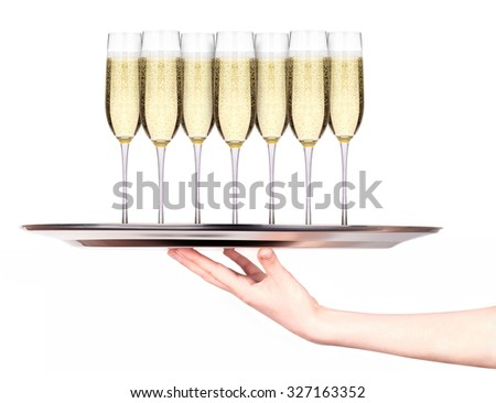 Waitress holding tray with glasses of champagne isolated on white background - stock photo