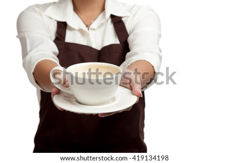 Waitress or barista  in apron  holding coffee  isolated on white background