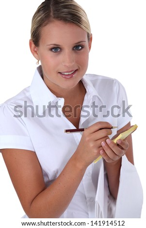waitress waiting order - stock photo