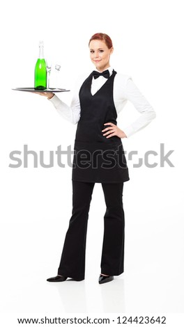 waitress with champagne and glasses isolated on white - stock photo