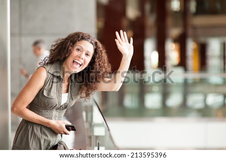 Waiving hi - stock photo