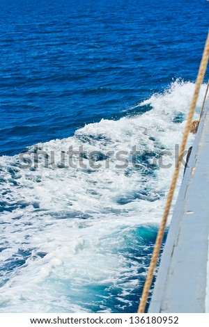 Wake caused by cruise ship.