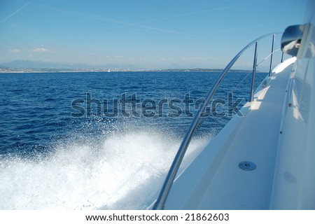 Wake on the side of a speed boat