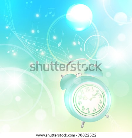 Wake up! Illustration of morning with ringing alarm clock over abstract light background - stock photo
