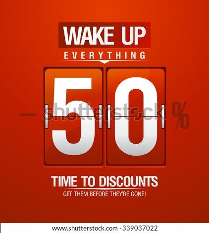 Wake up -50% sale design for coupon in shape of analog flip clock, rasterized version. - stock photo