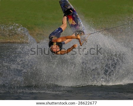wakeboard flying somersault - stock photo