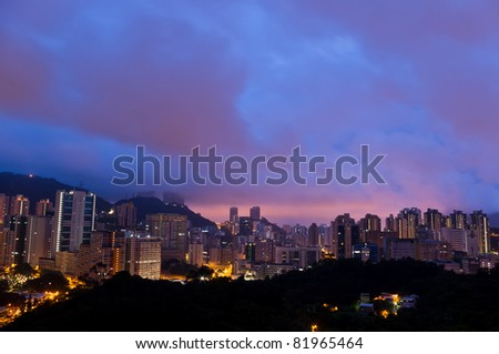 waking up - an aerial view of a early morning of Hong Kong city skyline