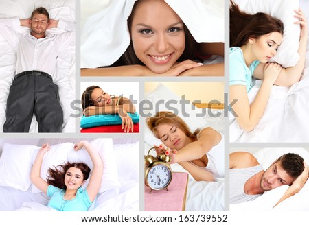 Waking up themed collage - stock photo
