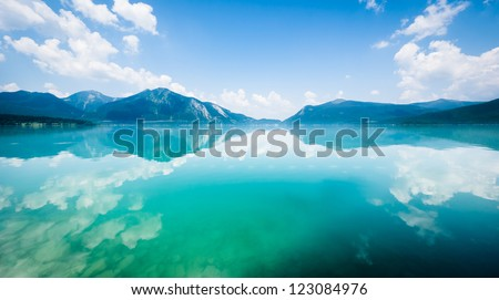 Walchensee near the bavarian alps in germany - stock photo