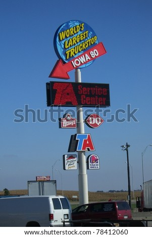 WALCOTT, IOWA - SEPTEMBER 26 : Famous Iowa 80 Truckstop on Interstate 80 on September 26, 2007 in Walcott, Iowa. The world's largest truck stop, with 15 gas pumps and parking for 800 trucks.