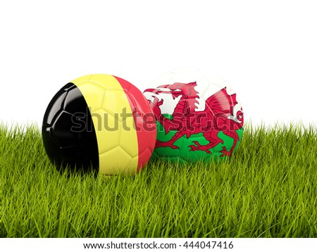 Wales and Belgium soccer  balls on grass. 3D illustration - stock photo