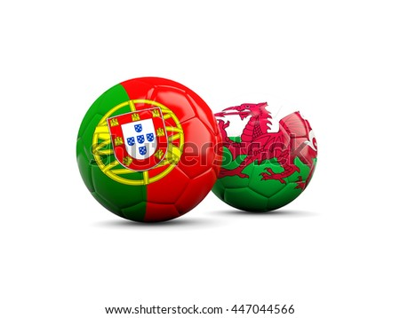 Wales and Portugal soccer balls isolated on white. 3D illustration - stock photo