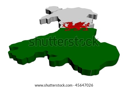 Wales map flag 3d render on white illustration