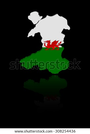 Wales map flag with reflection illustration - stock photo