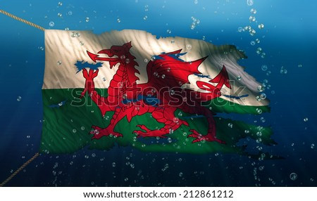 Wales Under Water Sea Flag National Torn Bubble 3D - stock photo