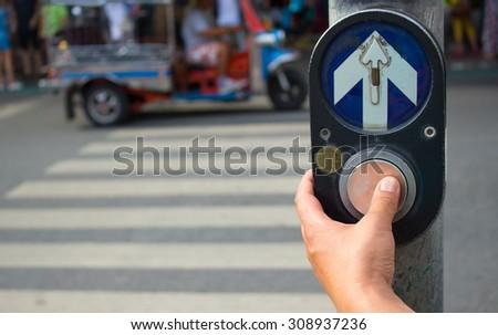 Walk Bangkok traffic sign with illuminated and blurred background - stock photo