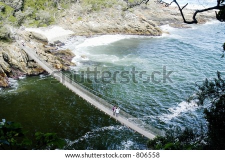 Walk bridge across Stormsriver Mouth, South Africa - stock photo
