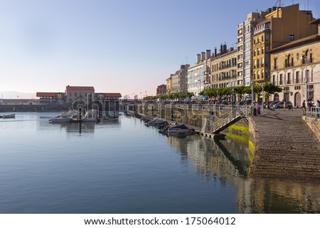 Walk by the sea in the city of Gijon - stock photo