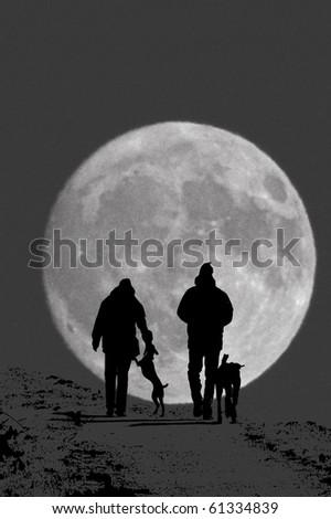 Walk in the moonlight - stock photo