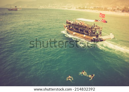 Walk on a beautiful yacht in Mediterranean sea, Alanya, Turkey. Filtered image:cross processed vintage effect.  - stock photo