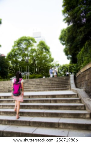 Walk on the stair in blur style - stock photo