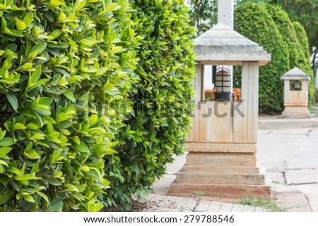 walk way lamp in village - stock photo