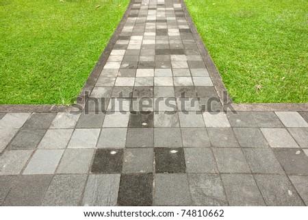 walk way surface of concrete blocks - stock photo