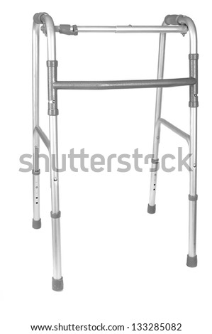 Walker to aid the infirm in walking, white isolation. - stock photo