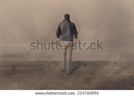 Walking away. Failure, confusion, difficulty, bankruptcy concepts - stock photo