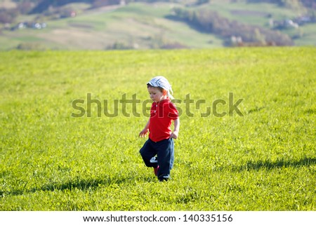Walking baby boy on nature at mountains background - stock photo
