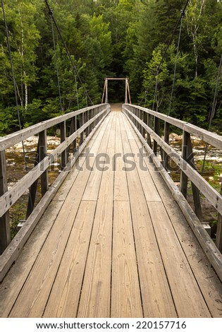 Walking bridge White Mountains  New Hampshire - stock photo